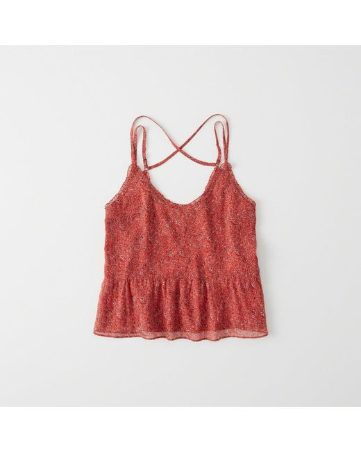 Abercrombie & Fitch - Red Chiffon Peplum Cami - Lyst
