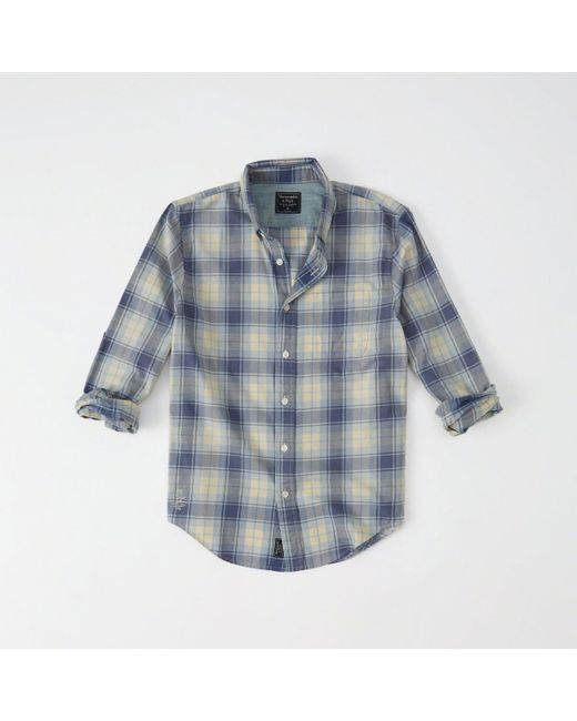 lyst abercrombie amp fitch destroyed plaid shirt in blue