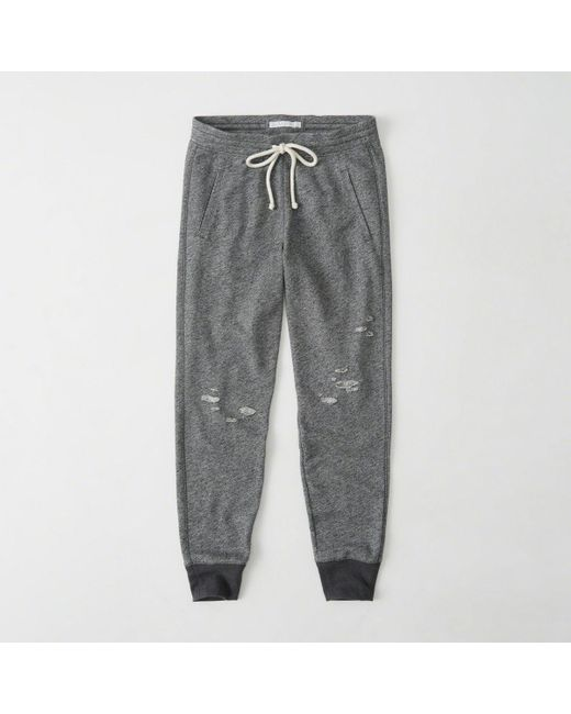 Abercrombie & Fitch - Gray Ripped Jogger - Lyst