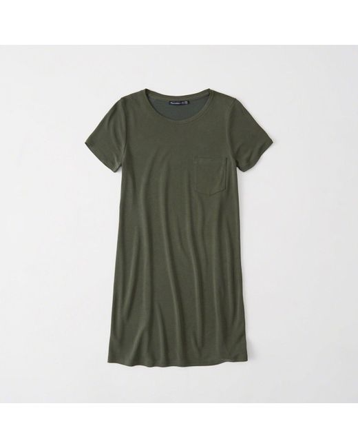 Abercrombie & Fitch - Green Pocket T-shirt Dress - Lyst