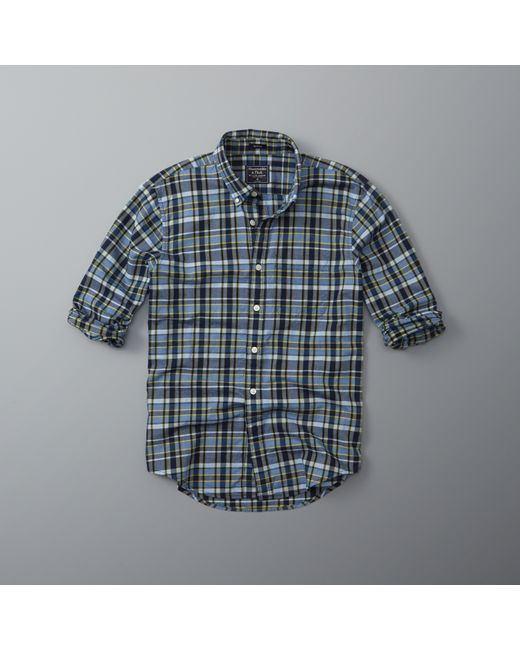 abercrombie amp fitch plaid madras shirt in blue for men lyst