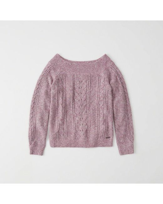 Lyst Abercrombie Fitch Off The Shoulder Cable Knit Sweater In Purple