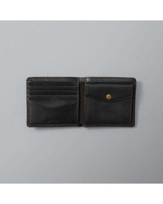 Abercrombie & Fitch Monogram Logo Leather Wallet In Black