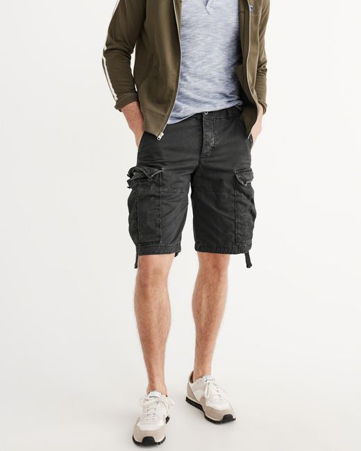 abercrombie amp fitch cargo shorts in black for men lyst