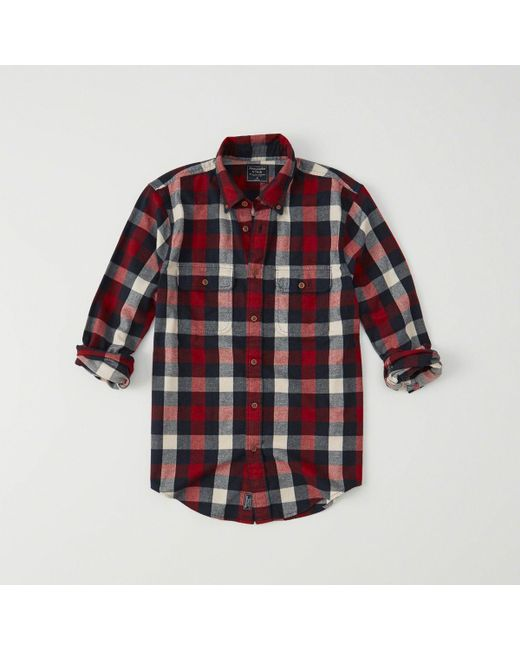 Abercrombie & Fitch - Red Flannel Shirt for Men - Lyst