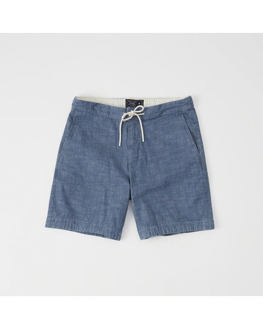 Abercrombie & Fitch - Blue Pull-on Plainfront Shorts for Men - Lyst