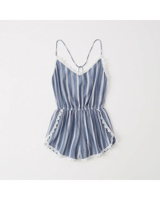 Abercrombie & Fitch - Blue Striped Romper Cover-up - Lyst
