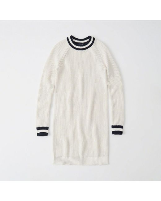 Abercrombie & Fitch - White Varsity Sweater Dress - Lyst