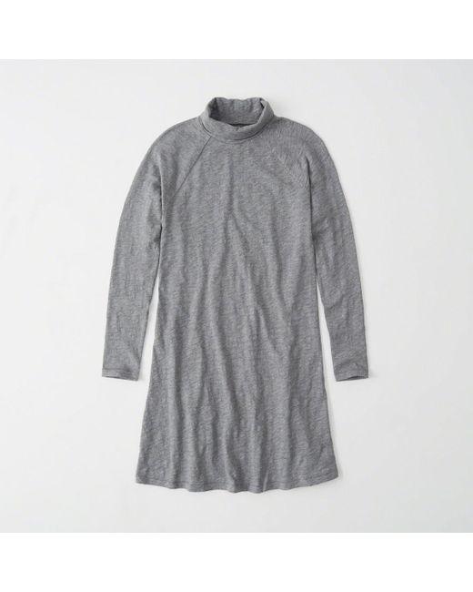 51747dd618cf Abercrombie & Fitch - Gray Turtleneck Swing Dress - Lyst ...
