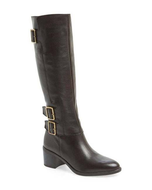 franco sarto elate leather boots in brown brown