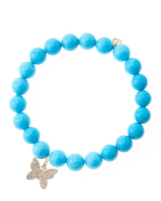 Sydney Evan | Blue Turquoise Round Beaded Bracelet With 14K Gold/Diamond Small Butterfly Charm (Made To Order) | Lyst