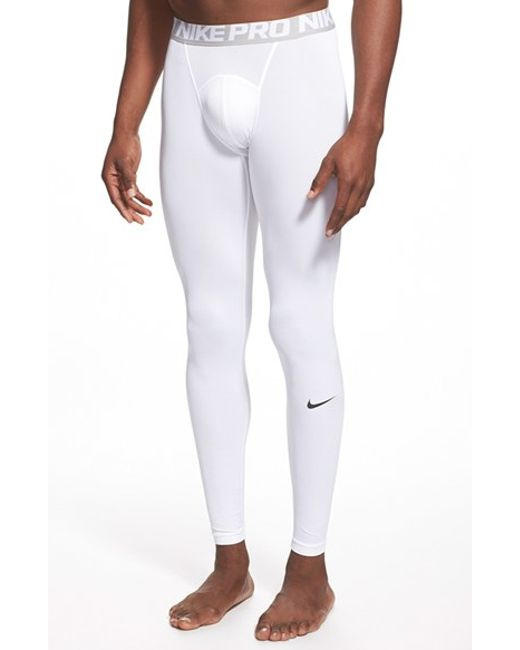Nike | White 'pro Cool Compression' Four-way Stretch Dri-fit Tights for Men | Lyst