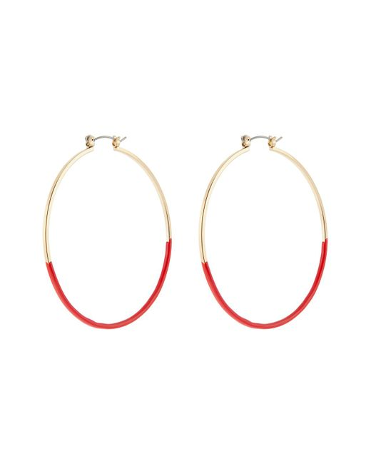 Accessorize - Red Enamel Hoop Earrings - Lyst