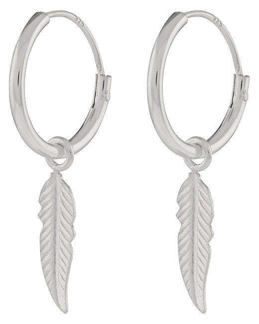 Accessorize - Metallic Sterling Silver Feather Sleeper Hoop Earrings - Lyst