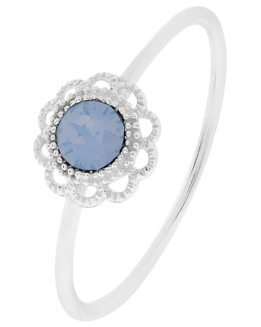 Accessorize - Blue Sterling Silver Filigree Ring With Swarovski® Crystal - Lyst