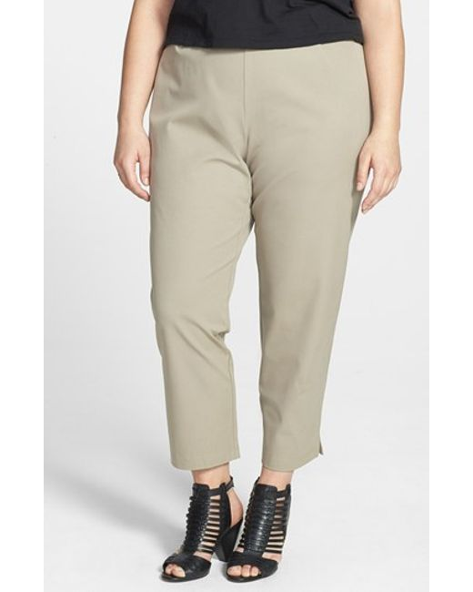 Eileen Fisher | Gray Stretch Organic Cotton Ankle Pants | Lyst