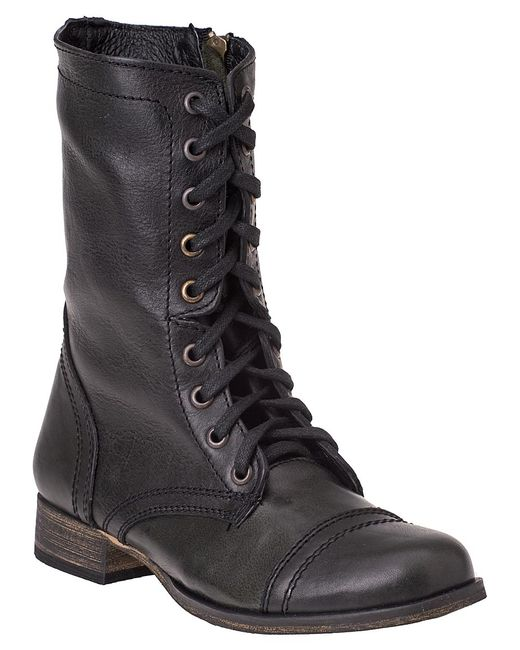 steve madden troopa lace up boot black leather in black