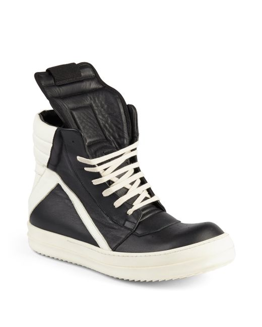 rick owens geobasket leather high top sneakers in black black white save 60 lyst. Black Bedroom Furniture Sets. Home Design Ideas