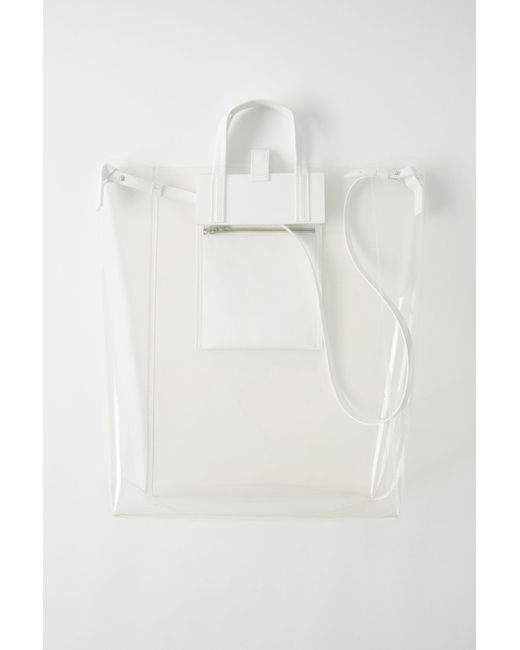 Acne - White Tote Bag transparent for Men - Lyst
