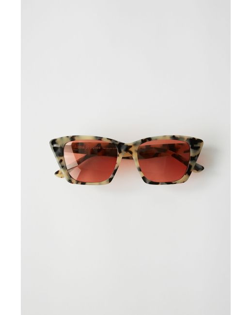 367995145625 Lyst - Acne Studios Ingridh White Black red Cateye Sunglasses in Red