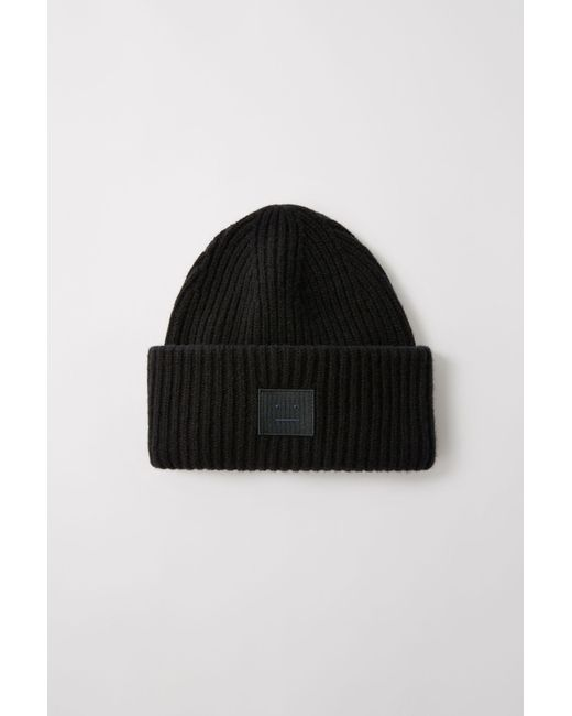 Acne Studios Pansy N Face Black Oversized Beanie in Black for Men ... a6b49007f7f