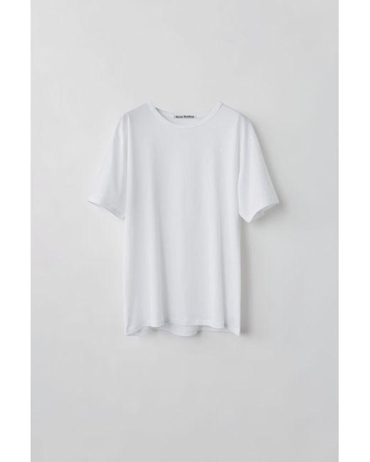 Acne Niagara Optic White Crewneck T-shirt for men