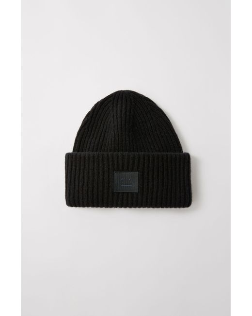 0ace2f4aaca01b Acne Studios Pansy N Face Black Ribbed Beanie Hat in Black for Men ...