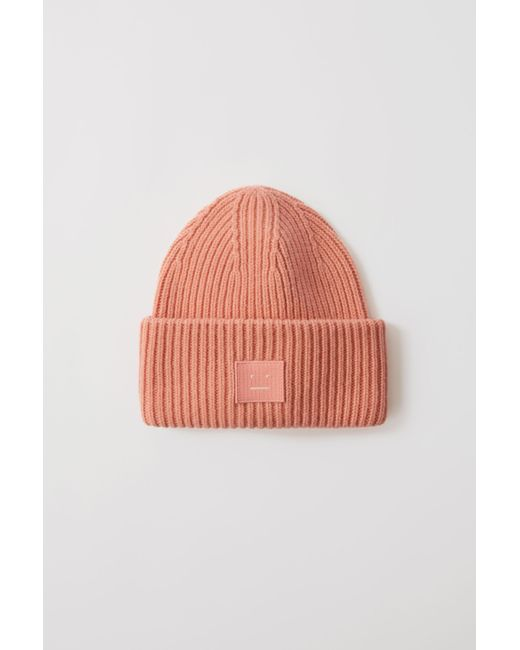 8ccb1db5bf0 Acne Studios Pansy N Face Pale Pink Ribbed Beanie Hat in Pink for ...