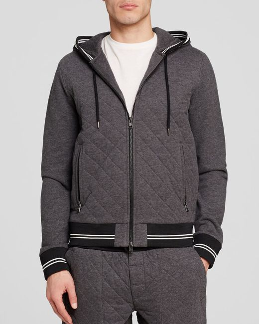 moncler maglia quilted cardigan in gray for men grey lyst