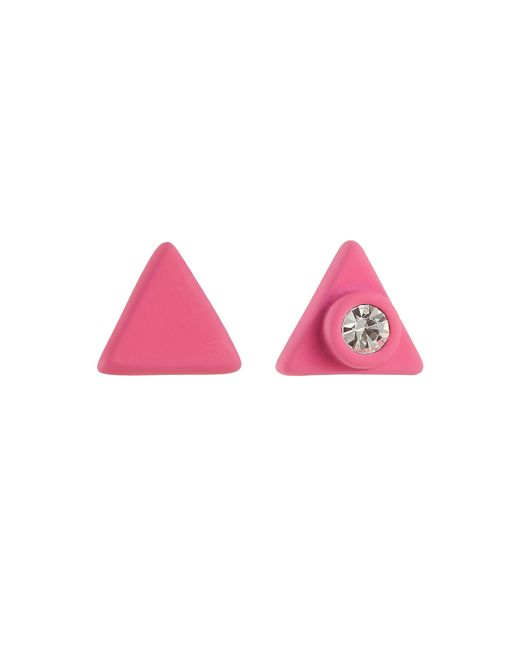Marc By Marc Jacobs | Pink Rubberized Triangle Earrings | Lyst