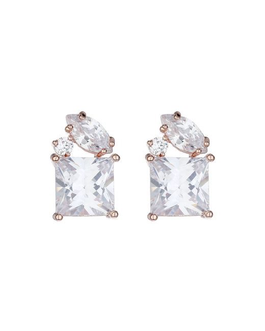 Mikey | White Cubic Stud Square Cubic Earring | Lyst