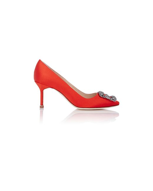 Manolo Blahnik | Red 'hangisi' Jewel Pump | Lyst