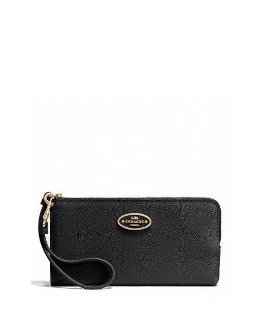 COACH | Black Leather Zip Wallet | Lyst