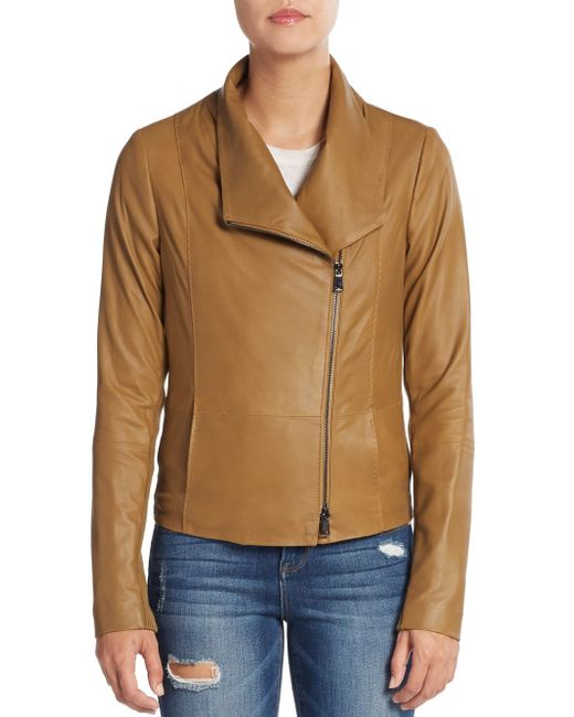 VINCE | Brown Leather Scuba Jacket | Lyst