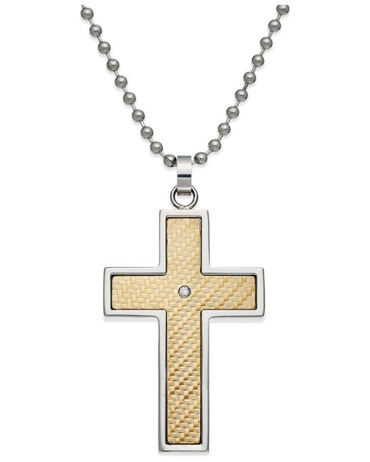 Macy's | Metallic Men's Diamond Accent Cross Pendant In 18k Gold And Stainless Steel for Men | Lyst