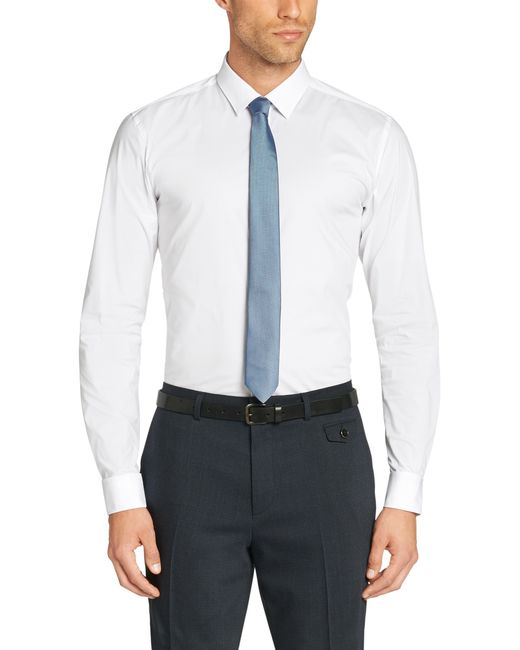 HUGO | White Slim-fit Shirt In Cotton Blend: 'ebly' for Men | Lyst