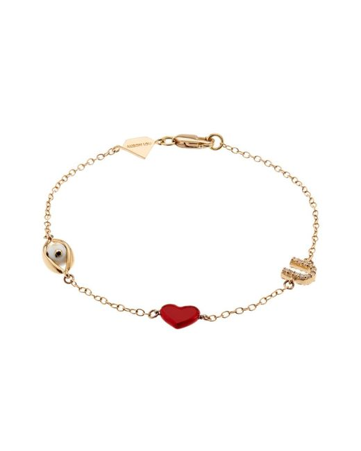 Alison Lou | Yellow Diamond, Enamel & Gold Eye-Heart-U Bracelet | Lyst