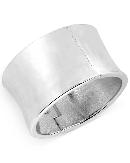 Robert Lee Morris | Metallic Silver-tone Sculptural Wide Hinge Bangle Bracelet | Lyst