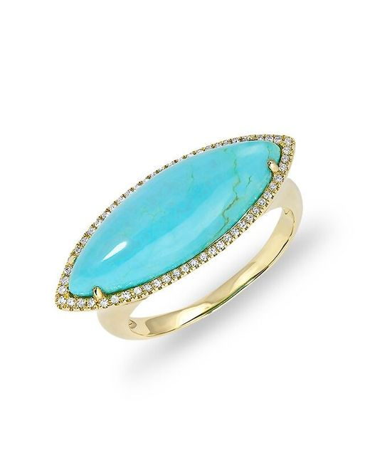 Anne Sisteron | Blue 14kt Yellow Gold Diamond Turquoise Marquis Ring | Lyst