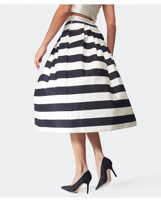 Tibi | Natural Escalante Striped Full Satin Skirt | Lyst