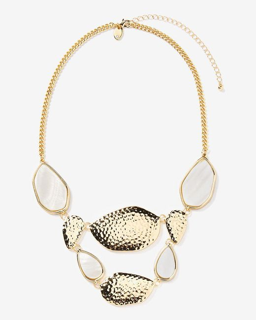 Addition Elle - Metallic Shell Stone Statement Necklace - Lyst