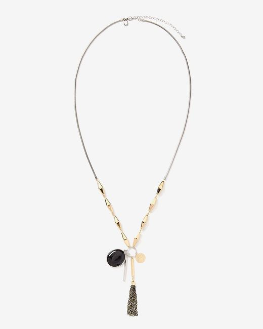 Addition Elle - Metallic Long Multi Pendant Necklace - Lyst