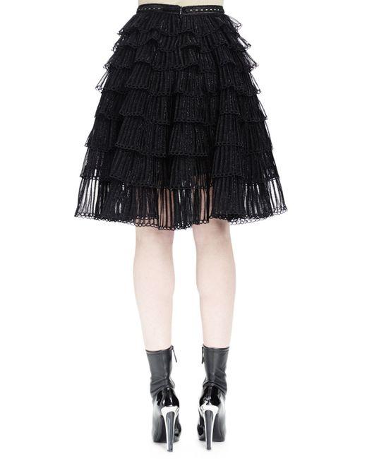 Alexander McQueen | Black Ruched-tiered Knit Skirt | Lyst