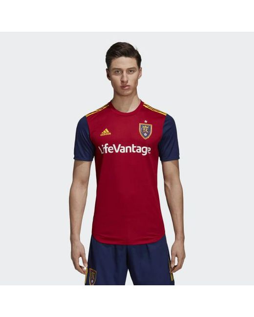 d19317dc682 Adidas - Red Real Salt Lake Home Authentic Jersey for Men - Lyst ...