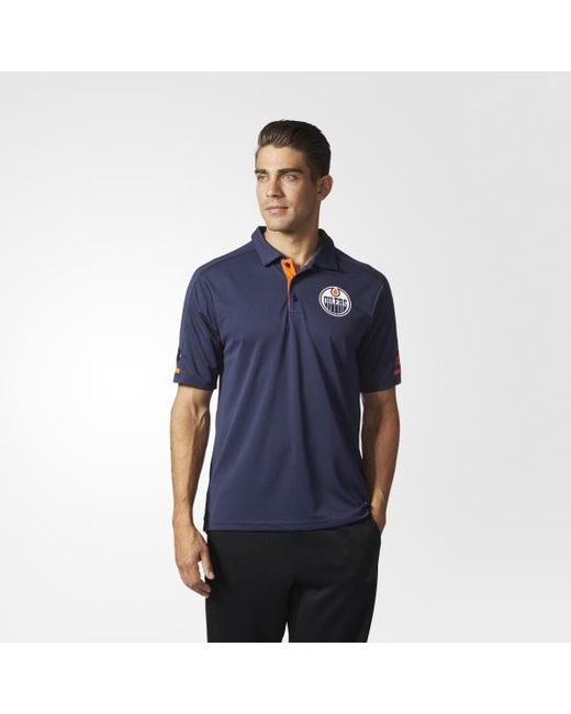 Adidas - Blue Oilers Pro Locker Room Polo Shirt for Men - Lyst