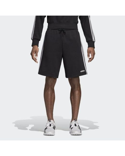 89884bf2b Adidas - Black Essentials 3-stripes Fleece Shorts for Men - Lyst ...