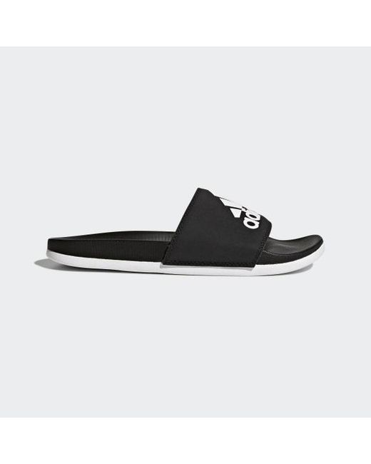 Adidas - Black Adilette Cloudfoam Plus Logo Slides for Men - Lyst ... cce05d98c