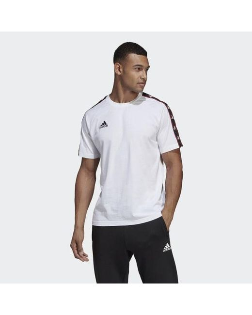 f251a8e69 Adidas - White Tan Tape Cotton Tee for Men - Lyst ...