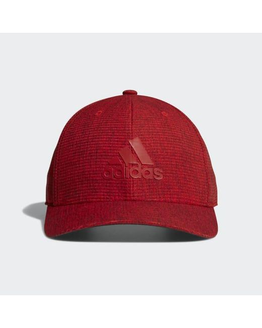 Lyst - adidas Heathered Snapback Hat in Red for Men 6fac78889cb9