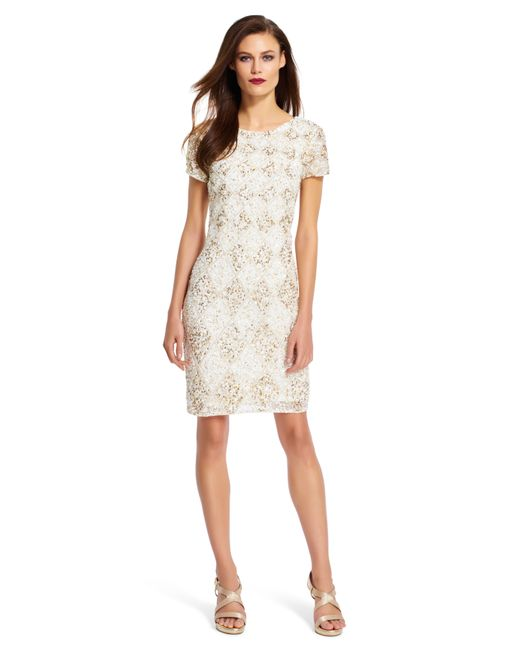 Adrianna Papell | White Embellished Mesh Tank Dress | Lyst